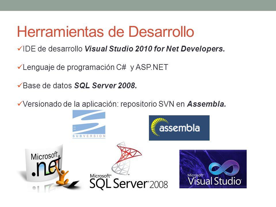 Herramientas de Desarrollo IDE de desarrollo Visual Studio 2010 for Net Developers. Lenguaje de programación C# y ASP.NET Base de datos SQL Server 200