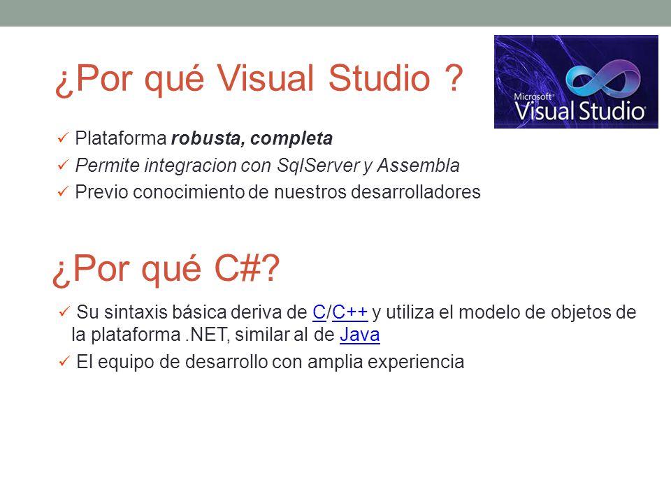 Plataforma robusta, completa Permite integracion con SqlServer y Assembla Previo conocimiento de nuestros desarrolladores ¿Por qué Visual Studio ? ¿Po