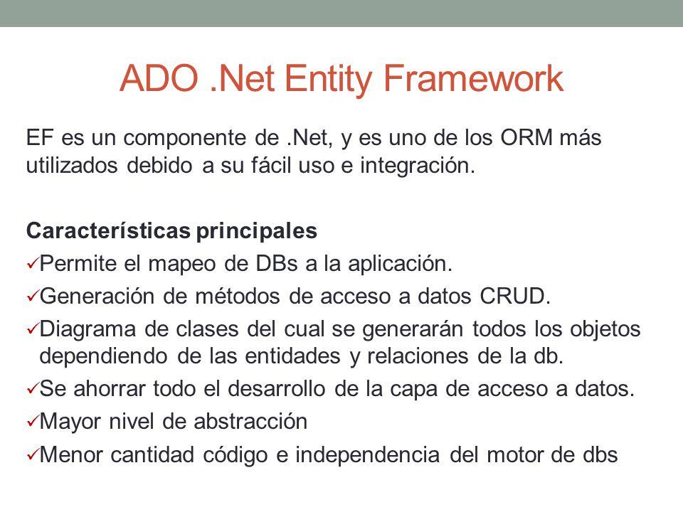 ADO.Net Entity Framework EF es un componente de.Net, y es uno de los ORM más utilizados debido a su fácil uso e integración. Características principal