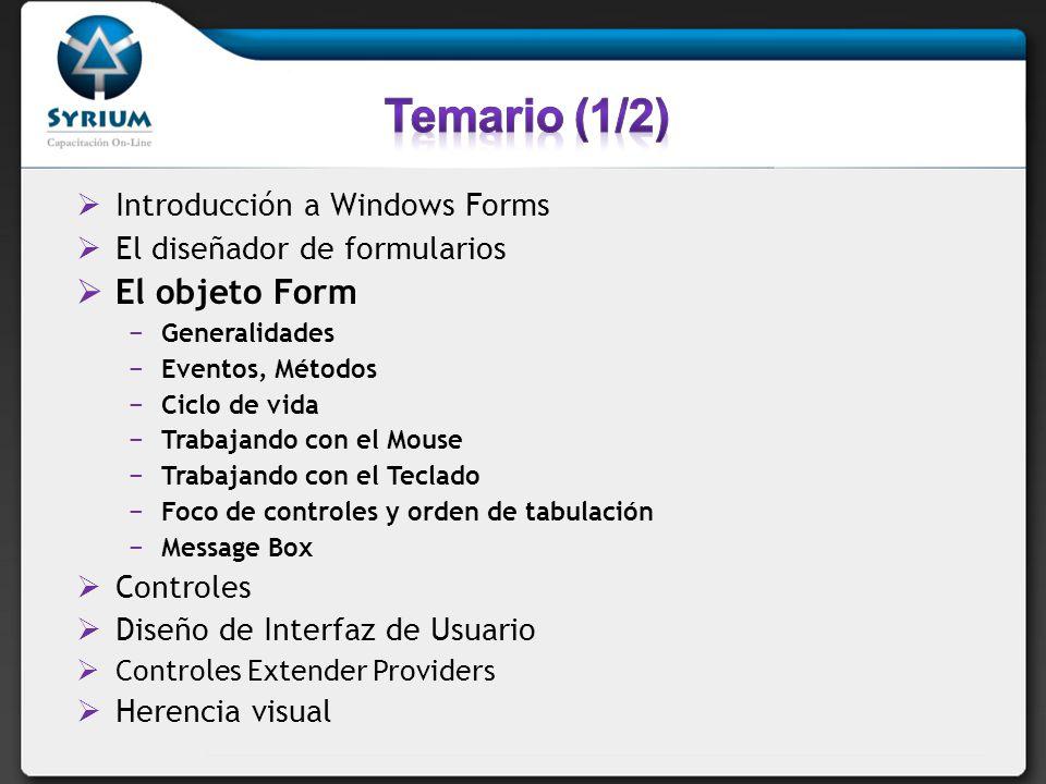 Introducción a Windows Forms El diseñador de formularios El objeto Form Generalidades Eventos, Métodos Ciclo de vida Trabajando con el Mouse Trabajando con el Teclado Foco de controles y orden de tabulación Message Box Controles Diseño de Interfaz de Usuario Controles Extender Providers Herencia visual