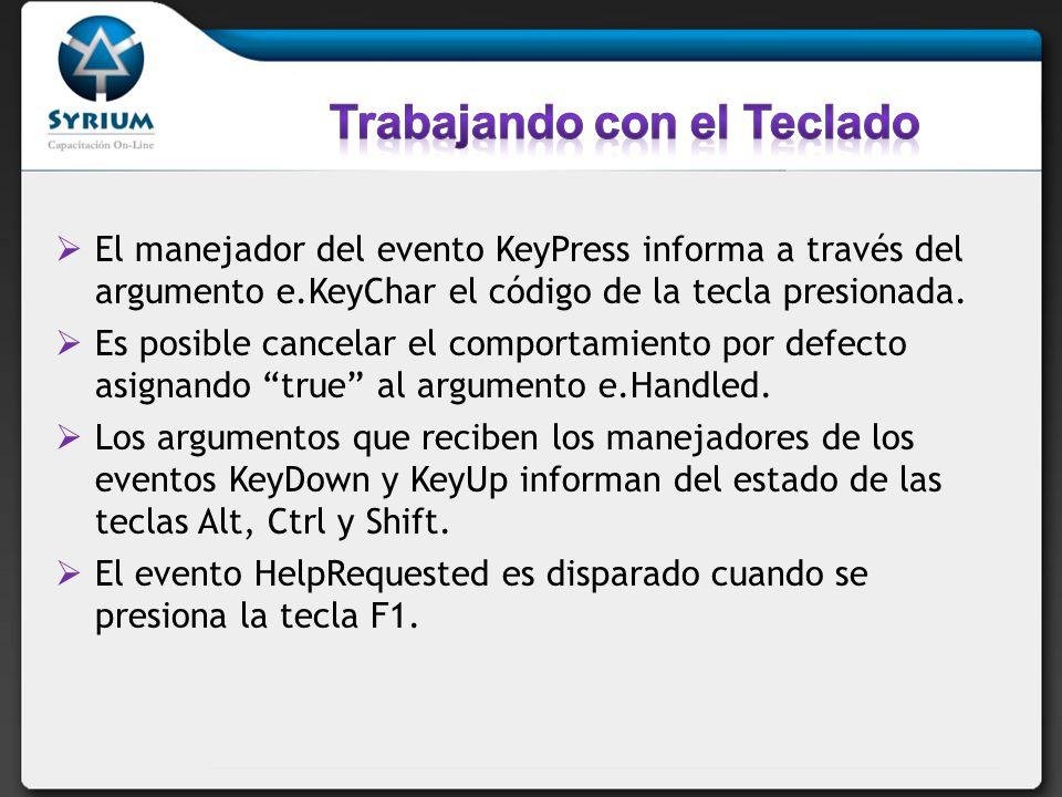El manejador del evento KeyPress informa a través del argumento e.KeyChar el código de la tecla presionada. Es posible cancelar el comportamiento por