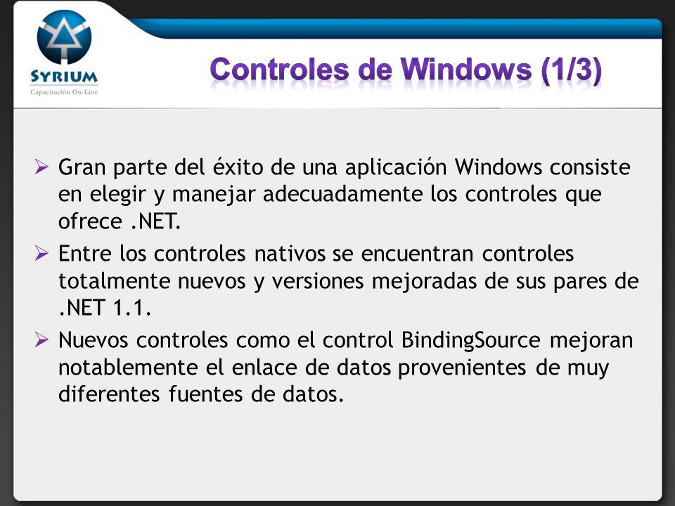 Gran parte del éxito de una aplicación Windows consiste en elegir y manejar adecuadamente los controles que ofrece.NET. Entre los controles nativos se