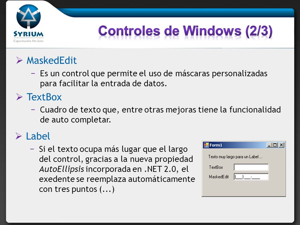 MaskedEdit Es un control que permite el uso de máscaras personalizadas para facilitar la entrada de datos. TextBox Cuadro de texto que, entre otras me