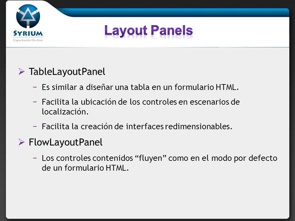 TableLayoutPanel Es similar a diseñar una tabla en un formulario HTML. Facilita la ubicación de los controles en escenarios de localización. Facilita