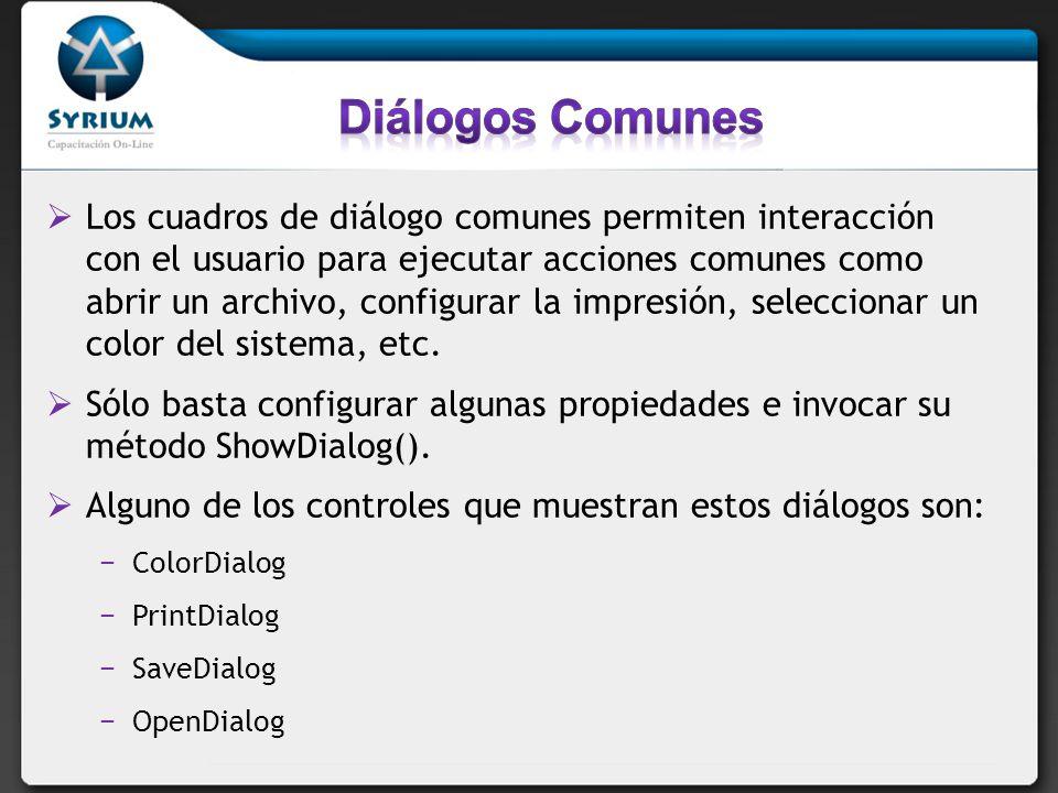 Los cuadros de diálogo comunes permiten interacción con el usuario para ejecutar acciones comunes como abrir un archivo, configurar la impresión, seleccionar un color del sistema, etc.