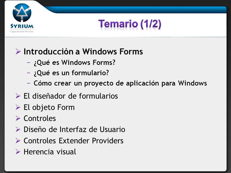 Introducción a Windows Forms ¿Qué es Windows Forms? ¿Qué es un formulario? Cómo crear un proyecto de aplicación para Windows El diseñador de formulari