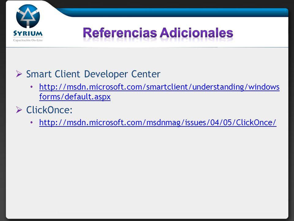 Smart Client Developer Center http://msdn.microsoft.com/smartclient/understanding/windows forms/default.aspx http://msdn.microsoft.com/smartclient/understanding/windows forms/default.aspx ClickOnce: http://msdn.microsoft.com/msdnmag/issues/04/05/ClickOnce/