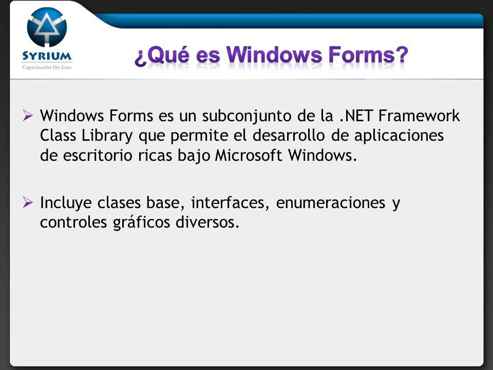 Windows Forms es un subconjunto de la.NET Framework Class Library que permite el desarrollo de aplicaciones de escritorio ricas bajo Microsoft Windows.