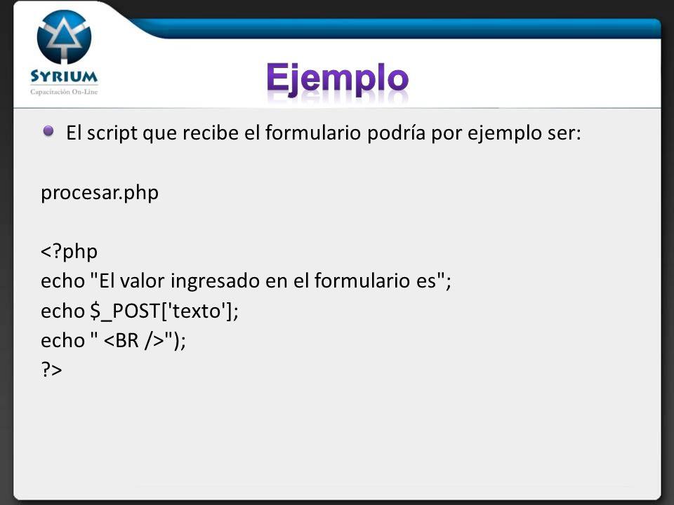 El script que recibe el formulario podría por ejemplo ser: procesar.php < php echo El valor ingresado en el formulario es ; echo $_POST[ texto ]; echo ); >