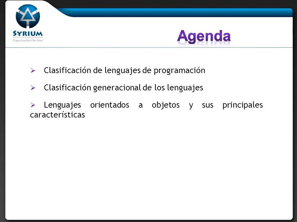 Clasificación de lenguajes de programación Clasificación generacional de los lenguajes Lenguajes orientados a objetos y sus principales característica
