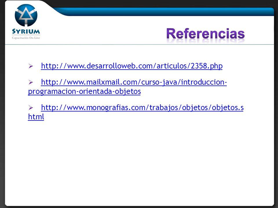 http://www.desarrolloweb.com/articulos/2358.php http://www.mailxmail.com/curso-java/introduccion- programacion-orientada-objetos http://www.mailxmail.