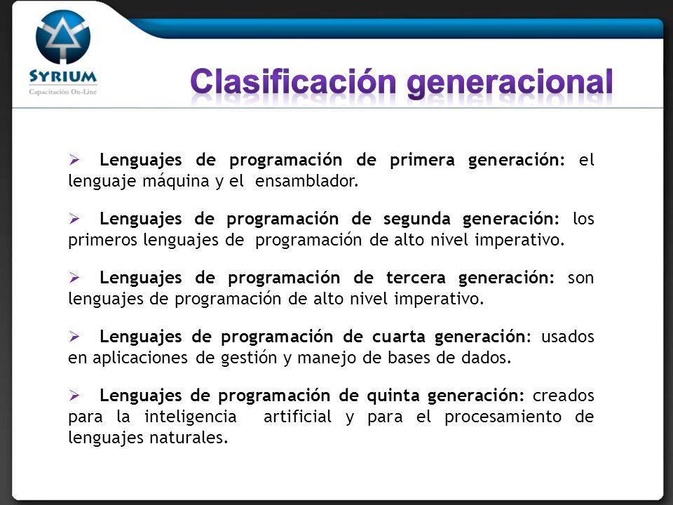 Lenguajes de programación de primera generación: el lenguaje máquina y el ensamblador. Lenguajes de programación de segunda generación: los primeros l