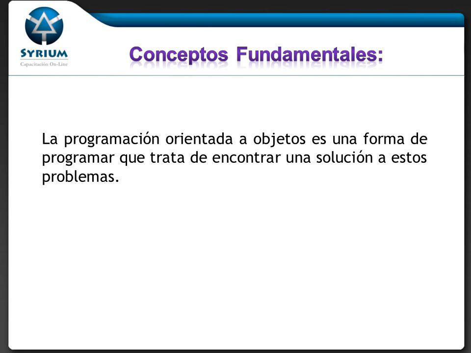 La programación orientada a objetos es una forma de programar que trata de encontrar una solución a estos problemas.