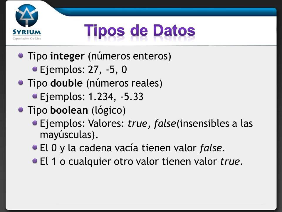 Tipo integer (números enteros) Ejemplos: 27, -5, 0 Tipo double (números reales) Ejemplos: 1.234, -5.33 Tipo boolean (lógico) Ejemplos: Valores: true, false(insensibles a las mayúsculas).
