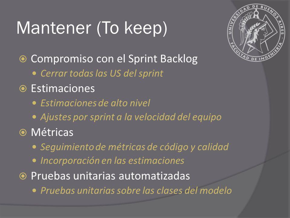 Mantener (To keep) Compromiso con el Sprint Backlog Cerrar todas las US del sprint Estimaciones Estimaciones de alto nivel Ajustes por sprint a la velocidad del equipo Métricas Seguimiento de métricas de código y calidad Incorporación en las estimaciones Pruebas unitarias automatizadas Pruebas unitarias sobre las clases del modelo