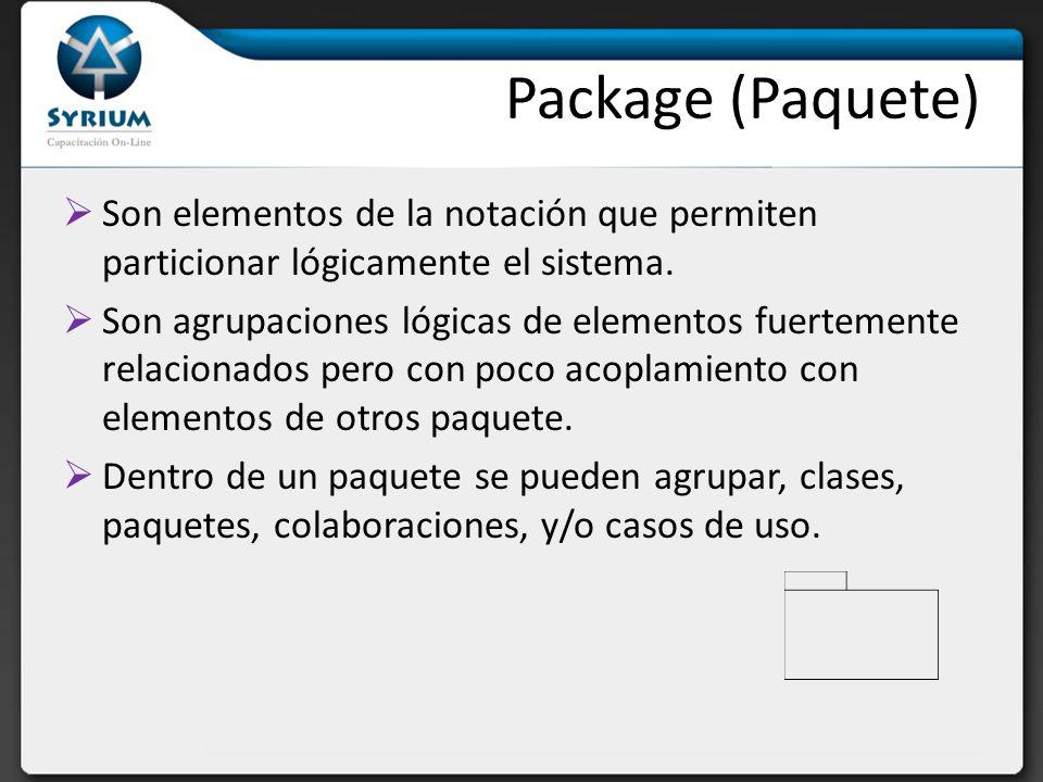 Package (Paquete) Son elementos de la notación que permiten particionar lógicamente el sistema. Son agrupaciones lógicas de elementos fuertemente rela