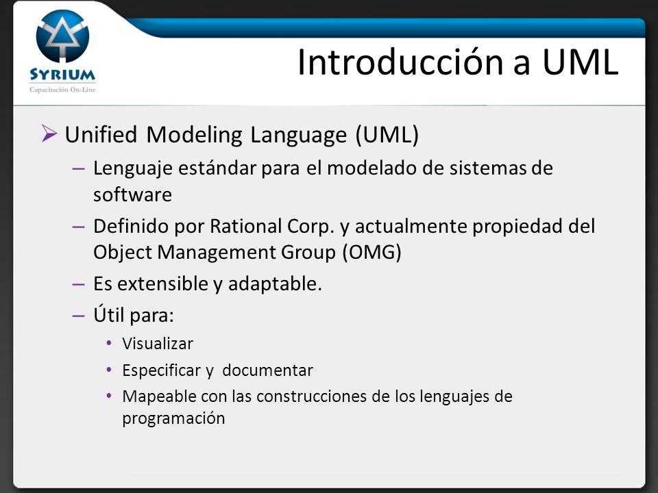 Introducción a UML Unified Modeling Language (UML) – Lenguaje estándar para el modelado de sistemas de software – Definido por Rational Corp. y actual