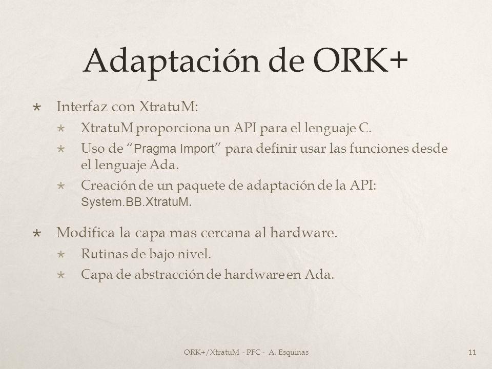 Adaptación de ORK+ Interfaz con XtratuM: XtratuM proporciona un API para el lenguaje C. Uso de Pragma Import para definir usar las funciones desde el
