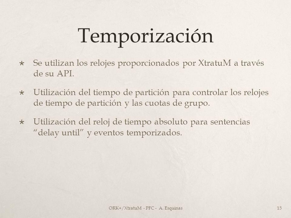 Temporización Se utilizan los relojes proporcionados por XtratuM a través de su API. Utilización del tiempo de partición para controlar los relojes de