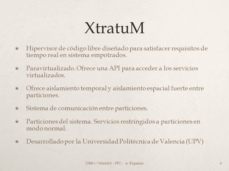 XtratuM Hipervisor de código libre diseñado para satisfacer requisitos de tiempo real en sistema empotrados. Paravirtualizado. Ofrece una API para acc
