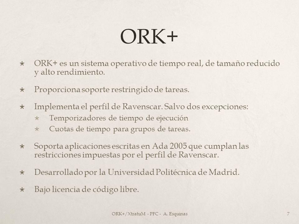 ORK+ ORK+ es un sistema operativo de tiempo real, de tamaño reducido y alto rendimiento. Proporciona soporte restringido de tareas. Implementa el perf