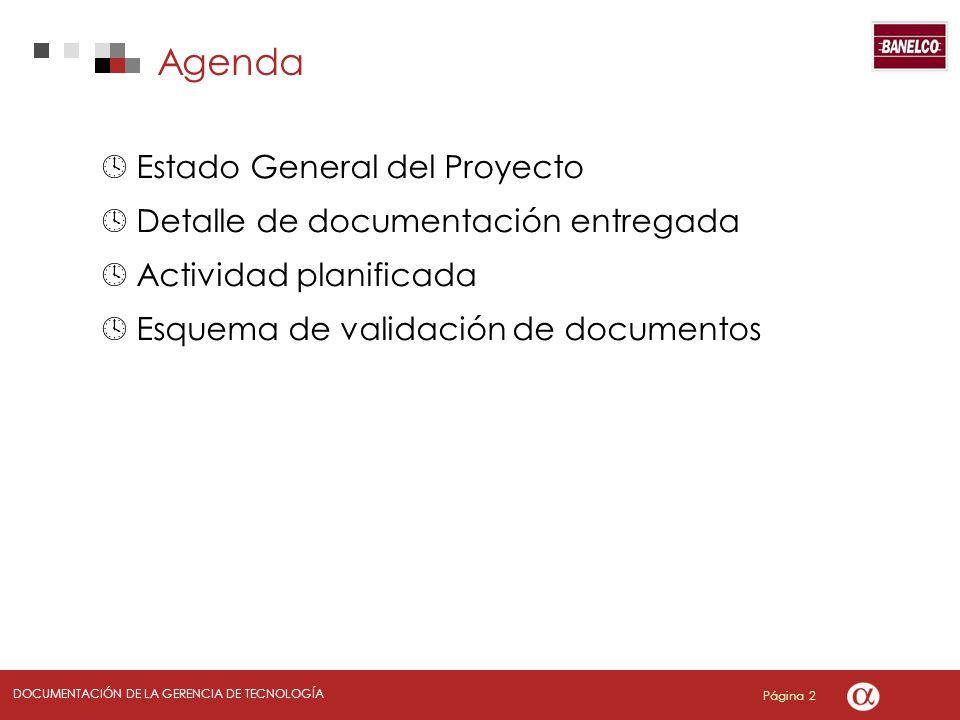 Página 2 DOCUMENTACIÓN DE LA GERENCIA DE TECNOLOGÍA Estado General del Proyecto Detalle de documentación entregada Actividad planificada Esquema de validación de documentos Agenda