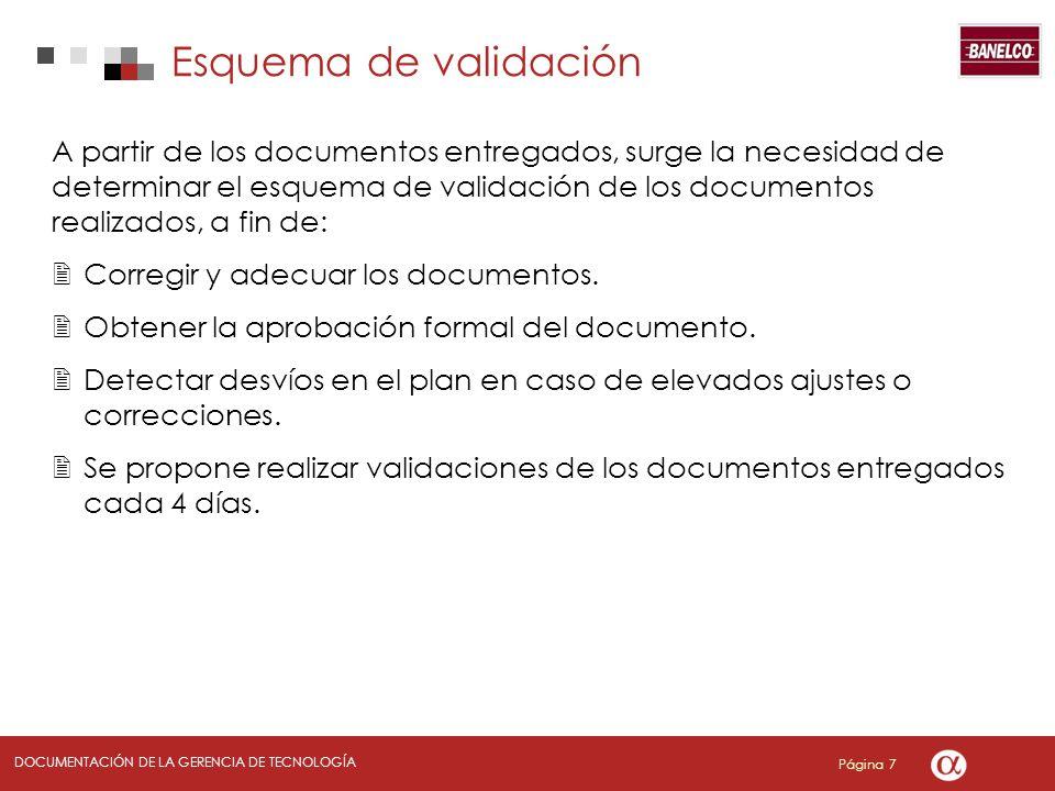 Página 7 DOCUMENTACIÓN DE LA GERENCIA DE TECNOLOGÍA Esquema de validación A partir de los documentos entregados, surge la necesidad de determinar el esquema de validación de los documentos realizados, a fin de: Corregir y adecuar los documentos.