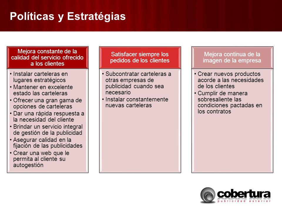 Políticas y Estratégias Mejora constante de la calidad del servicio ofrecido a los clientes Instalar carteleras en lugares estratégicos Mantener en ex