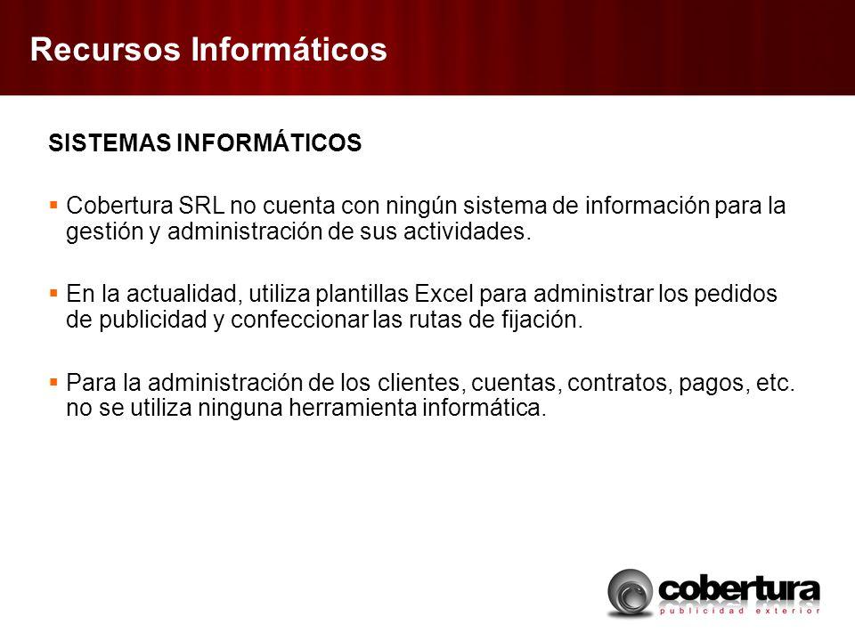 Recursos Informáticos SISTEMAS INFORMÁTICOS Cobertura SRL no cuenta con ningún sistema de información para la gestión y administración de sus actividades.