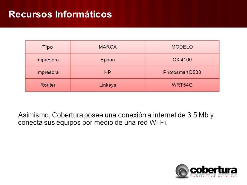 Recursos Informáticos Asimismo, Cobertura posee una conexión a internet de 3.5 Mb y conecta sus equipos por medio de una red Wi-Fi.