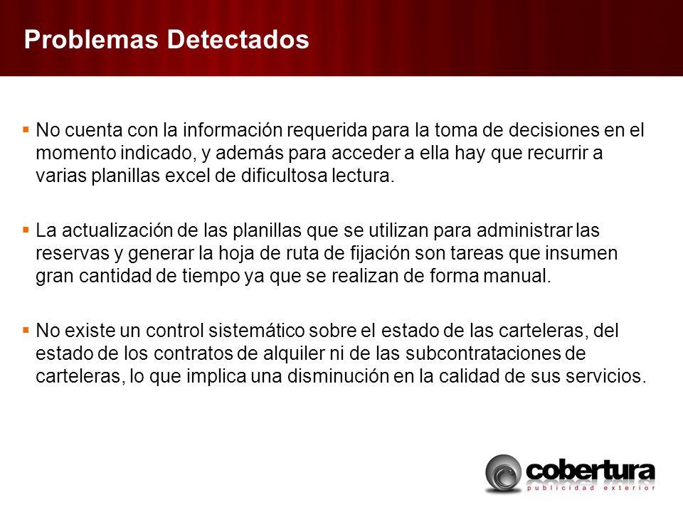 Problemas Detectados No cuenta con la información requerida para la toma de decisiones en el momento indicado, y además para acceder a ella hay que re