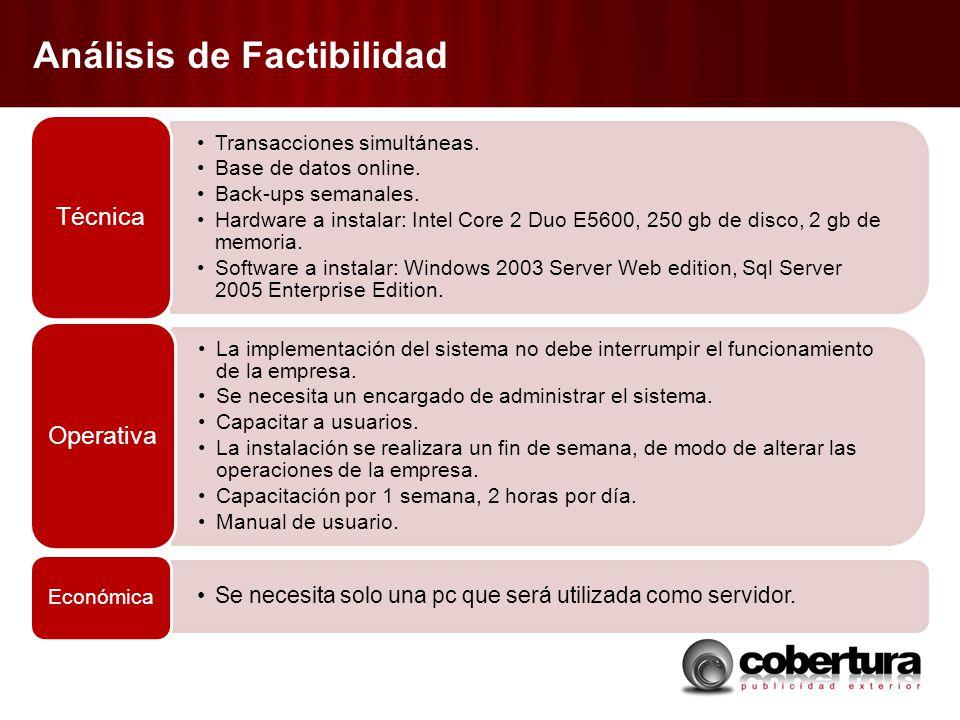 Análisis de Factibilidad Transacciones simultáneas. Base de datos online. Back-ups semanales. Hardware a instalar: Intel Core 2 Duo E5600, 250 gb de d
