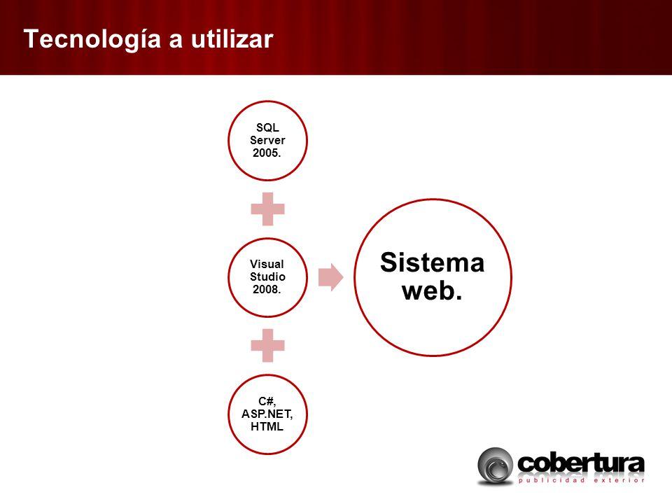 Tecnología a utilizar SQL Server 2005. Visual Studio 2008. C#, ASP.NET, HTML Sistema web.