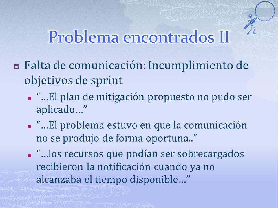 Falta de comunicación: Incumplimiento de objetivos de sprint …El plan de mitigación propuesto no pudo ser aplicado… …El problema estuvo en que la comunicación no se produjo de forma oportuna..