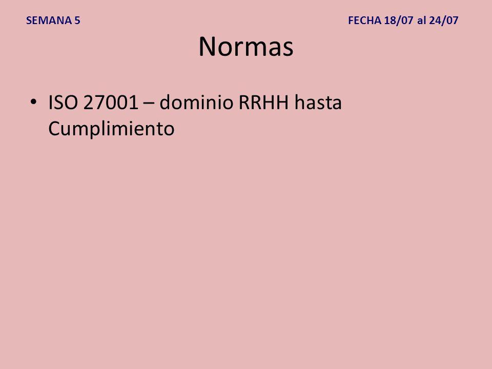 Normas ISO 27001 – dominio RRHH hasta Cumplimiento SEMANA 5 FECHA 18/07 al 24/07