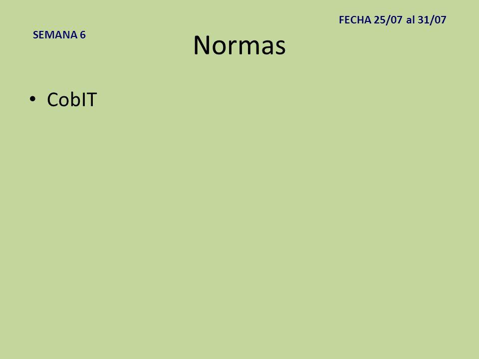 Normas CobIT SEMANA 6 FECHA 25/07 al 31/07