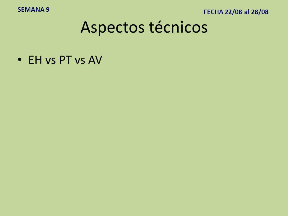 Aspectos técnicos EH vs PT vs AV SEMANA 9 FECHA 22/08 al 28/08