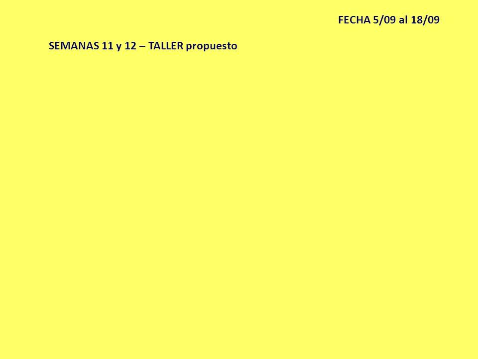 SEMANAS 11 y 12 – TALLER propuesto FECHA 5/09 al 18/09