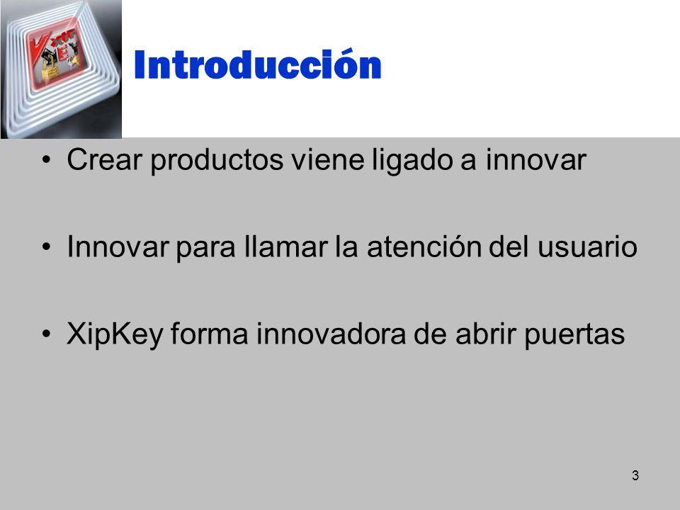 Introducción Crear productos viene ligado a innovar Innovar para llamar la atención del usuario XipKey forma innovadora de abrir puertas 3
