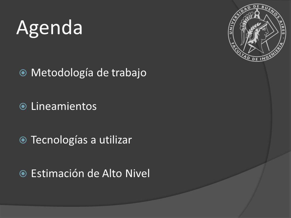 Agenda Metodología de trabajo Lineamientos Tecnologías a utilizar Estimación de Alto Nivel