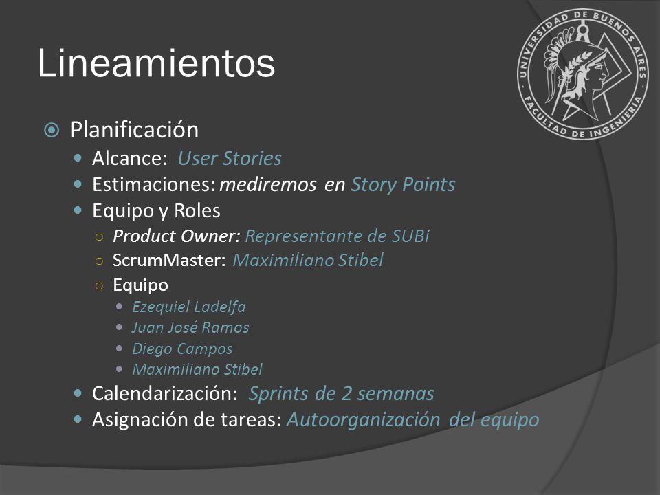 Lineamientos Planificación Alcance: User Stories Estimaciones: mediremos en Story Points Equipo y Roles Product Owner: Representante de SUBi ScrumMast