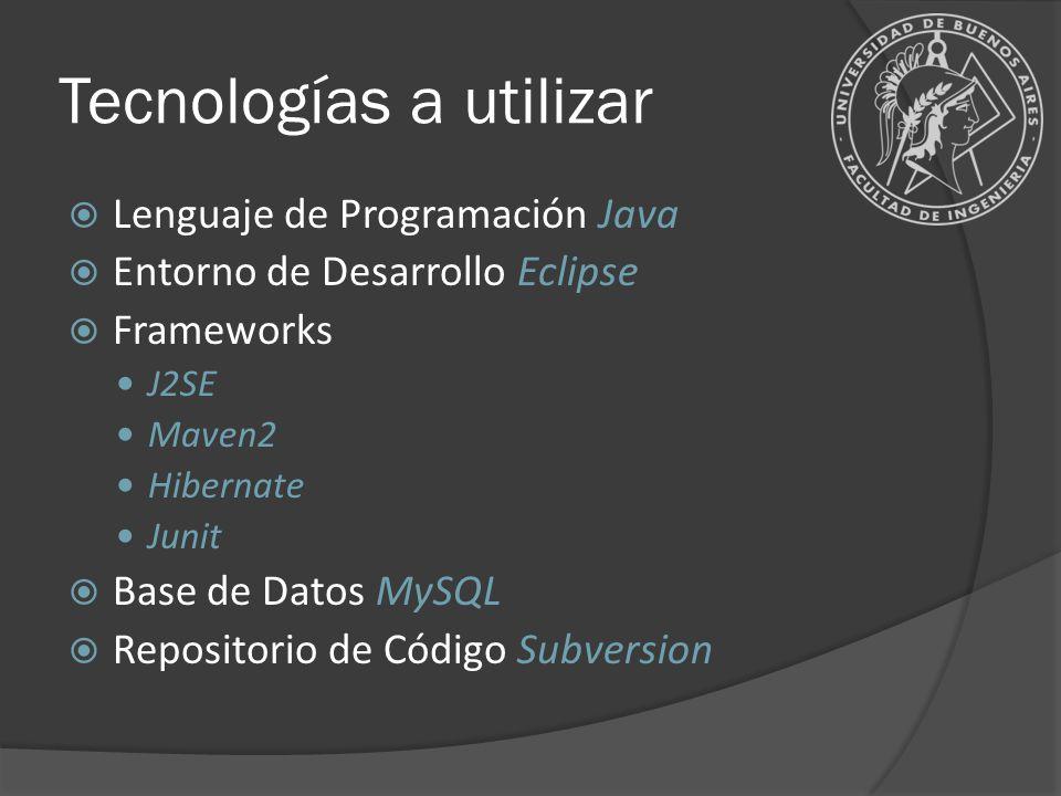 Tecnologías a utilizar Lenguaje de Programación Java Entorno de Desarrollo Eclipse Frameworks J2SE Maven2 Hibernate Junit Base de Datos MySQL Reposito