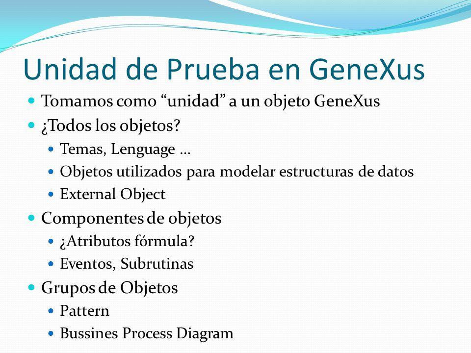 Unidad de Prueba en GeneXus Tomamos como unidad a un objeto GeneXus ¿Todos los objetos? Temas, Lenguage … Objetos utilizados para modelar estructuras