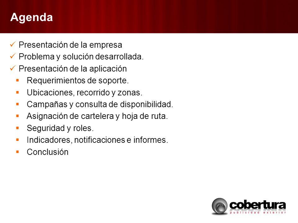 Agenda Presentación de la empresa Problema y solución desarrollada.