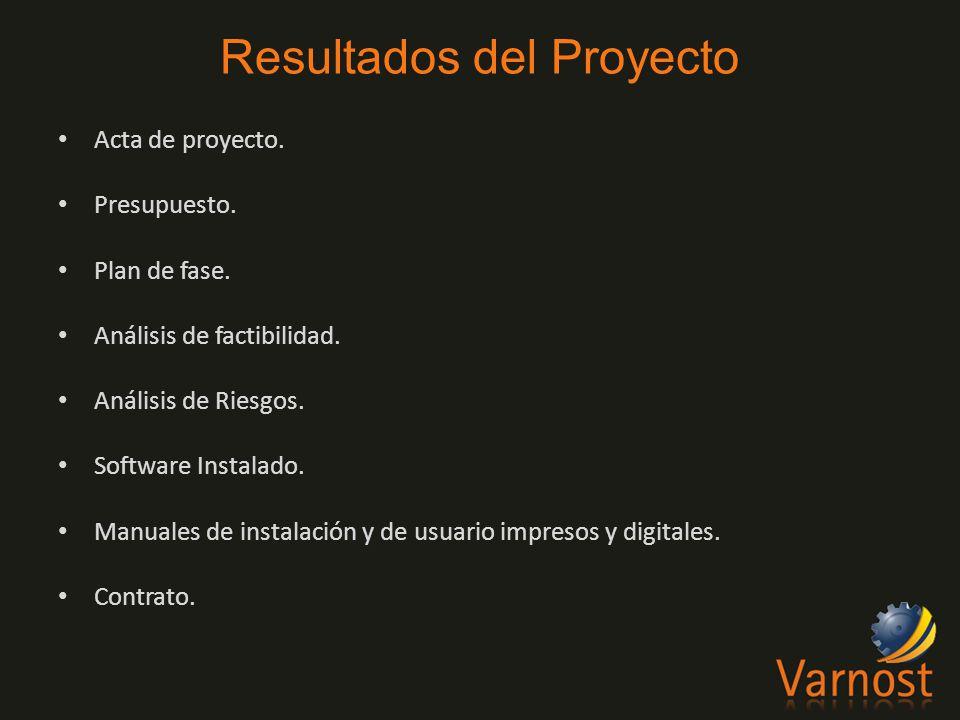 Acta de proyecto. Presupuesto. Plan de fase. Análisis de factibilidad.