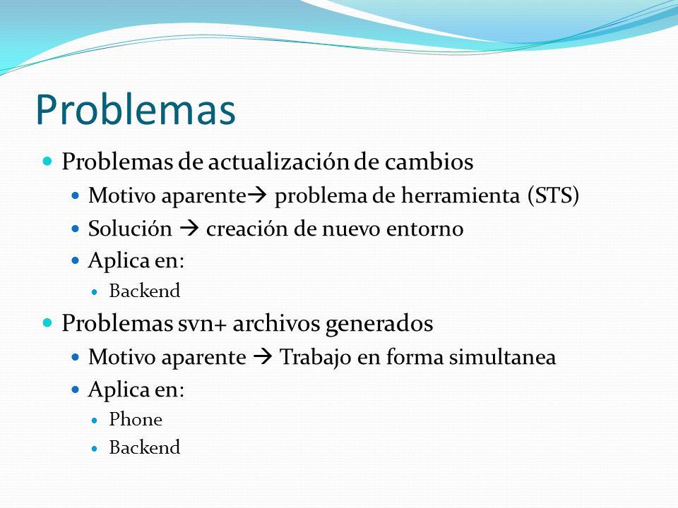 Problemas Problemas de actualización de cambios Motivo aparente problema de herramienta (STS) Solución creación de nuevo entorno Aplica en: Backend Pr