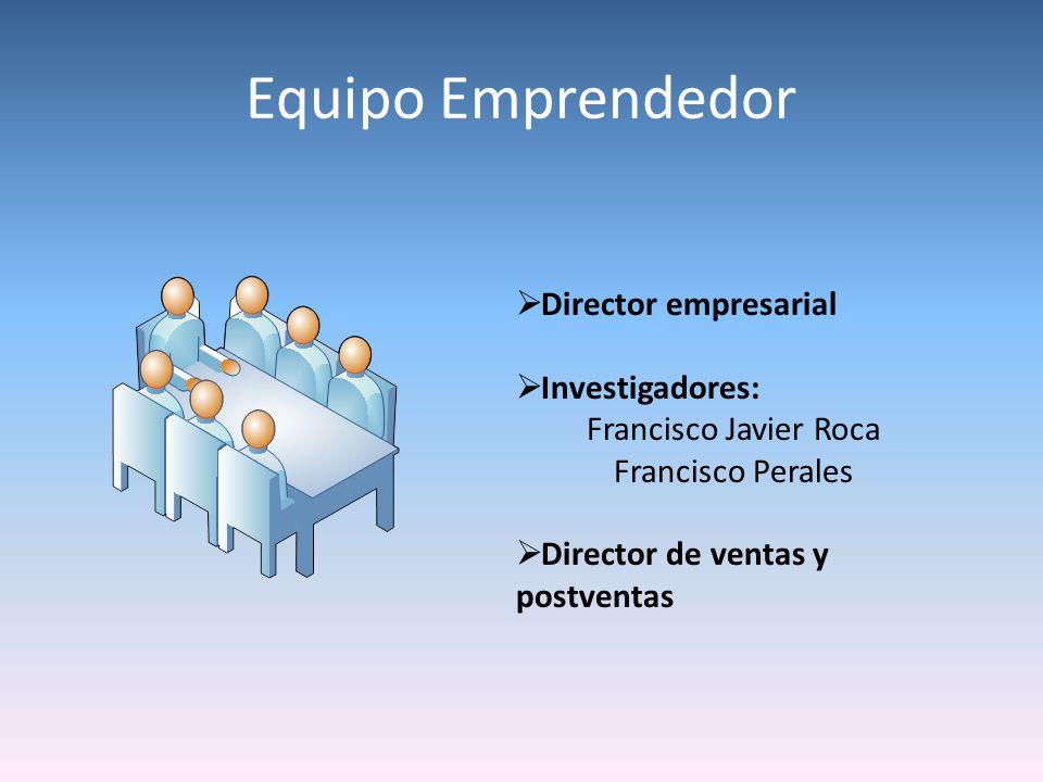 Equipo Emprendedor Director empresarial Investigadores: Francisco Javier Roca Francisco Perales Director de ventas y postventas