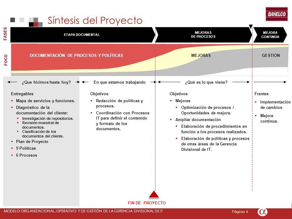 Página 6 MODELO ORGANIZACIONAL, OPERATIVO Y DE GESTIÓN DE LA GERENCIA DIVISIONAL DE IT Objetivos Mejoras Optimización de procesos / Oportunidades de mejora.