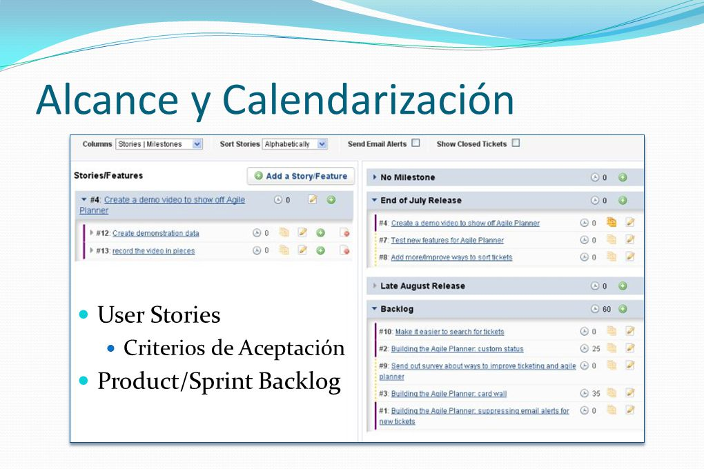 Alcance y Calendarización User Stories Criterios de Aceptación Product/Sprint Backlog