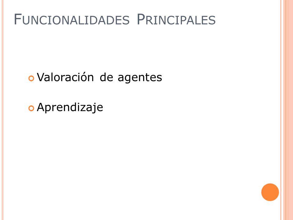 Valoración de agentes Aprendizaje F UNCIONALIDADES P RINCIPALES